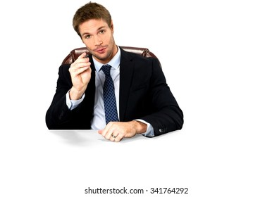 Serious Caucasian man with short medium blond hair in business formal outfit holding office chair - Isolated
