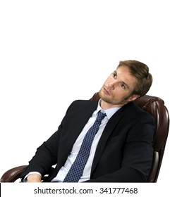 Serious Caucasian man with short medium blond hair in business formal outfit leaning - Isolated
