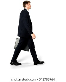 Serious Caucasian man with short medium blond hair in business formal outfit holding briefcase - Isolated