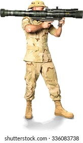 Serious Caucasian Soldier In Desert Camouflage Uniform aiming with bazooka - Isolated