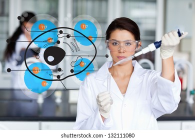 Serious chemist working with hologrpahic cell interface
