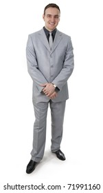 Serious and clever businessman on a white background.