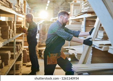 Serious concentrated handsome bearded warehouse workers of furniture factory wearing safety goggles viewing long planks while choosing detail for assembling