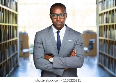 Serious, confident, powerful attorney legal representative at law office space