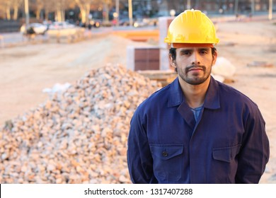 Serious construction worker with copy space