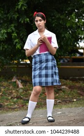 Serious Cute Colombian Person Wearing Skirt
