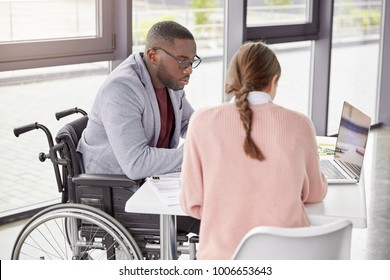 Serious dark skinned male invalid in wheelchair collaborates with young female, make business plan together, watch online conference or webinar online, sit in spacious cabinet. Disabled person