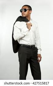 Serious Fashionable Black Man