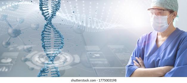 ernsthafte weibliche Ärztin, die ein Dna-helix-Hologramm auf abstraktem Hintergrund untersucht, Konzept der genetischen Versorgung