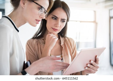Serious female employees are holding tablet and discussing certain case with determination. They standing in office. Portrait