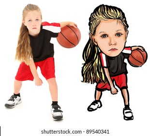 Serious girl child basketball player in uniform dribbling ball between legs over white background. Photograph and Caricature illustration over white. Before and after drawing.
