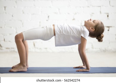 Serious girl child practicing yoga, standing in Reverse Table Top exercise, Bridge pose working out wearing sportswear, t-shirt, pants, indoor full length, white loft studio background