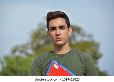 Serious Hispanic Male Teen Military Student