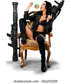 Serious Hispanic young woman with long black hair in costume using bazooka - Isolated