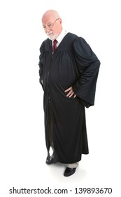Serious judge, full body, isolated on white.