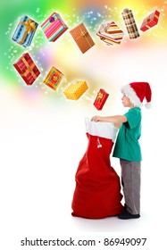 Serious little boy opening Santa bag, a lot of wrapped, wonderful presents flying from above on colorful background and starry way