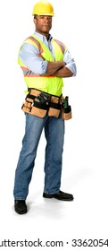 Serious Male Construction Worker with short black hair in uniform with arms folded - Isolated