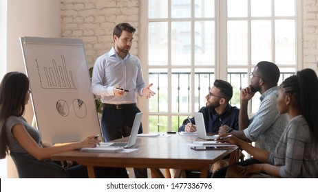 Serious male manager presenter businessman speaker give business presentation to diverse employees group at office meeting workshop in conference room teach team at corporate training lecture seminar