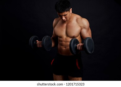 serious man is concentrated on lifting weight. close up photo. strength, willpower, pains, effort concept
