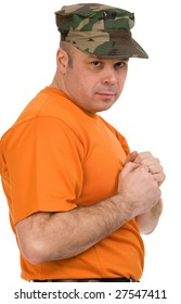 serious man in orange t-shirt on a white background