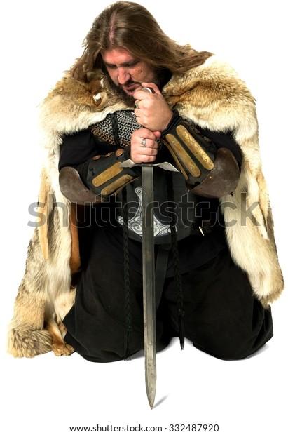 Serious Medieval Warrior Long Medium Brown Stock Photo (Edit Now