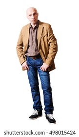 d154d2bf9de8 Serious middle-aged man in a yellow jacket and jeans. white background