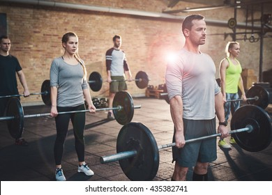 Serious muscular bearded man in shorts and gray tee shirt leading small group of young adults in barbell exercises for fitness training