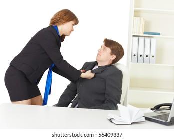 Serious quarrel of young men at office
