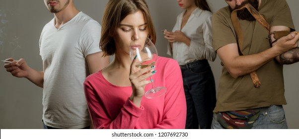 Serious sad woman having alcohol addiction. Psychologist theraphy social problems concept alcohol addiction. Stop alcohol addiction. Alcoholic Addiction.