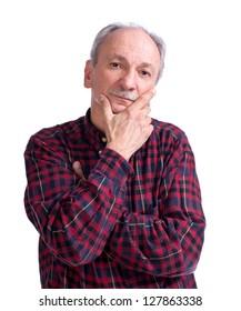 Serious senior man on a white background