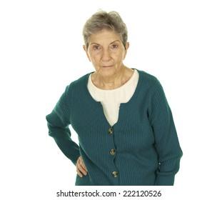 Serious Senior Woman on a White Background