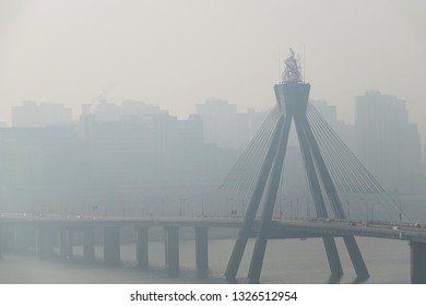 the serious smog of a city