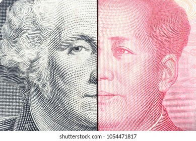 Serious trade tension or trade war between US and China, financial concept : Notes of USA and China with faces of Gorge Washington and Mao Zedong, depicts trade deficit between Washington and Beijing