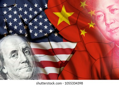 Serious trade tension or trade war between US and China, financial concept : Flags of USA and China with faces of Benjamin Franklin and Mao Zedong, depicts trade deficit between Washington and Beijing