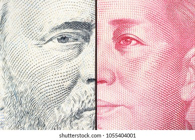 Serious trade tension or trade war between US and China, financial concept : Notes of USA and China with faces of Ulysses S. Grant and Mao Zedong, depicts trade deficit between Washington and Beijing