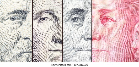 Serious trade tension or trade war between US and China, financial concept : Notes of USA and China with faces of Benjamin Franklin and Mao Zedong, depicts trade deficit between Washington and Beijing