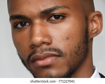 Serious Unshaven Black Male