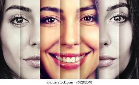 Serious woman hiding happy emotions