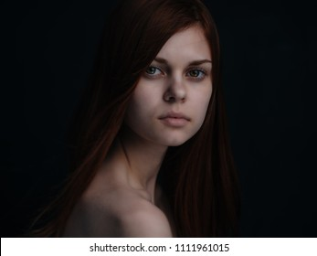 serious woman natural make-up portrait