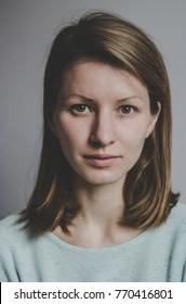 Serious woman vertical portrait