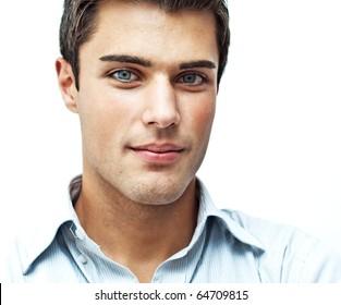 Serious young man close portrait
