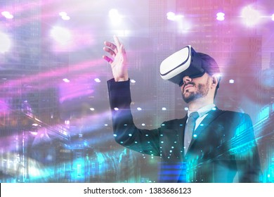 Serious young man in suit using virtual reality headset over night cityscape background. Concept of hi tech and modern technology. Toned image double exposure