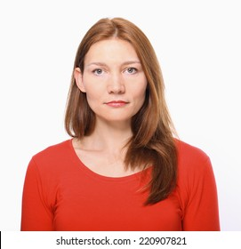 Serious Young Woman Portrait.