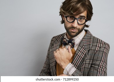 Seriously geek chic guy in glasses, portrait