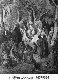 Sermon on the Mount. 1) Le Sainte Bible: Traduction nouvelle selon la Vulgate par Mm. J.-J. Bourasse et P. Janvier. Tours: Alfred Mame et Fils. 2) 1866 3) France 4) Gustave Doré