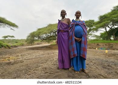 Seronera, Tanzania, February 12, 2016: Maasai pregnant women