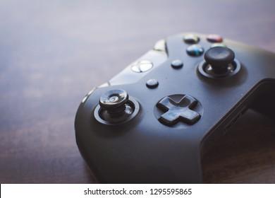 Seropedica / Rio de Janeiro / Brazil - January 26, 2019: joystick video game xbox one on wooden table