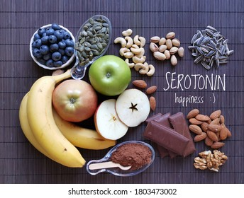 Serotonin-boosting foods. Assortment of food for good mood, happiness, better memory, and positive mind. Healthful foods that may help boost serotonin. Natural sources of serotonin, healthy diet.