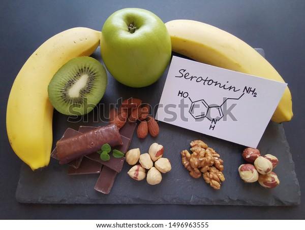 Serotoninboosting Foods Assortment Food Good Mood Stock Photo Edit Now 1496963555