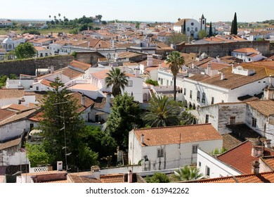 SERPA, PORTUGAL - May 9, 2014: The Portuguese town of Serpa, a village in the Alentejo region famous for its castle, town walls, clock tower, roman aqueduct and many churches.